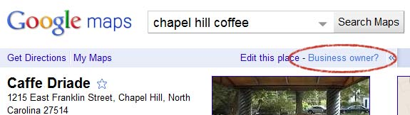 Example Google Places Page