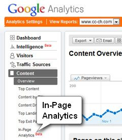 The Google Analytics Menu with In-Page Analysis